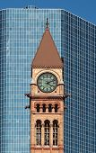 Old City Hall Of Toronto In Front Of A Modern Skyscrape
