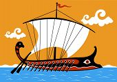 picture of argo  - Illustration of an ancient Greek trireme ship sailing on the sea - JPG
