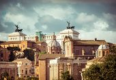 view of the monument to Vittorio Emanuele from the ruins of famous ancient Roman Forum, Rome, Italy