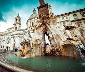 Detail of the Fountain of the Four Rivers in Piazza Navona, Rome, Italy.