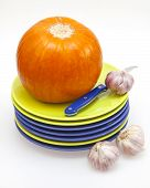 Orange pumpkin, garlic  and ware for table layout