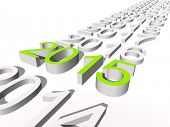 Conceptual 3D green 2015 new year text standing out of the crowd isolated on white background