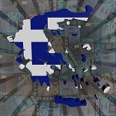 Greece map flag on euros sunburst illustration