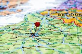 Paris pinned on a map of europe