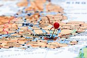 London pinned on a map of europe
