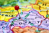 Zagreb pinned on a map of europe