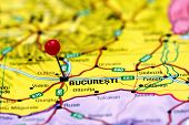 Bucharest pinned on a map of europe