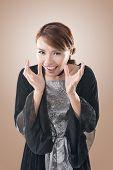 Asian witch woman using magic, closeup portrait.