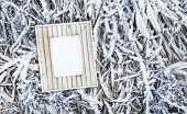 Old Wooden Frame Over Frozen Grass. Place For Text