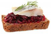 Canape herring with beets on rye toast, isolated on white