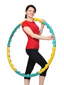 stock photo of hula hoop  - young girl holding hula hoop on white background - JPG