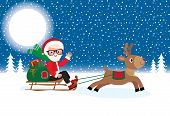 pic of sleigh ride  - vector illustration Christmas Santa Claus with a bag of gifts on a sleigh ride with the reindeer - JPG