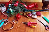 picture of christmas wreath  - Tools and decorations for making of handicraft christmas wreath - JPG