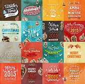 picture of christmas greetings  - Christmas Vector Vintage Cards Set - JPG