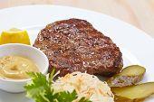 steak with cabbage salad
