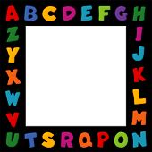 Alphabet Frame, Primary Colors, Black Border
