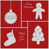 Christmas mini cards, red
