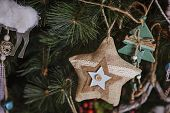 handmade christmas decorations on the tree