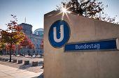 Bundestag Underground Sign In Berlin