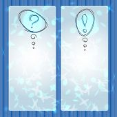 Question Mark And Exclamation Point Labels On Abstract Background. Vector