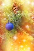 Blue bauble on Christmas tree