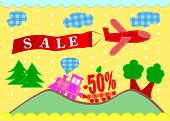 sale banners. plane and train