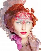 Creative shoot. Beautiful fashion woman With Conceptual Creative Makeup With Dispersion Effect