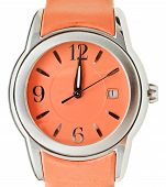 Twelve O'clock On Dial Of Orange Wristwatch