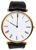 Ten O'clock On Dial Of Wristwatch Isolated