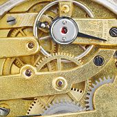 Background From Brass Gear Movement Of Retro Watch