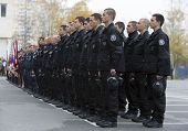 Young Policemen In Formation