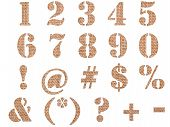 Burlap Material Textured Numbers, Signs And Symbols