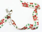 Christmas Poinsettia Ribbon Place Setting