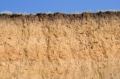 Layered cut of soil