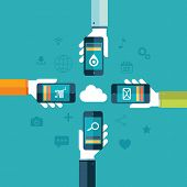 Cloud computing poster with human hands and smartphones vector illustration.