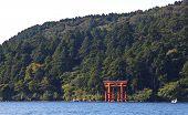 Japanese red torii gate at lake ashi hakone city