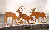 Deer, steinbock and moose made of metal