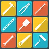 flat white house remodel tools icons