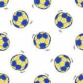 Seamless pattern with handball balls