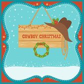 Cowboy Christmas Card With Western Hat On Winter Background