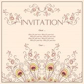 Beautiful Invitation card with pattern of peacock feathers.