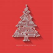 Vector christmas tree from digital electronic circuit on red background with long shadow