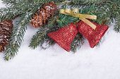 Border Of Christmas Bells, Evergreen Branch And Pine Cones