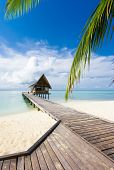 Beautiful vivad over beach with the water villas in the Indian ocean