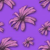 Vector background with hand drawn flowers. Seamless Pattern