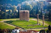 Zeus temple from high spot in Athens, Greece