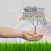 Concept or conceptual business text word cloud on man hand, tagcloud on rainbow sky background and green grass