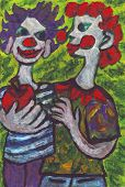 Two Clowns Friends Painting