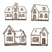 Christmas and New Year objects collection. Winter cute houses