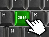 Computer keyboard with 2015 key - holiday concept